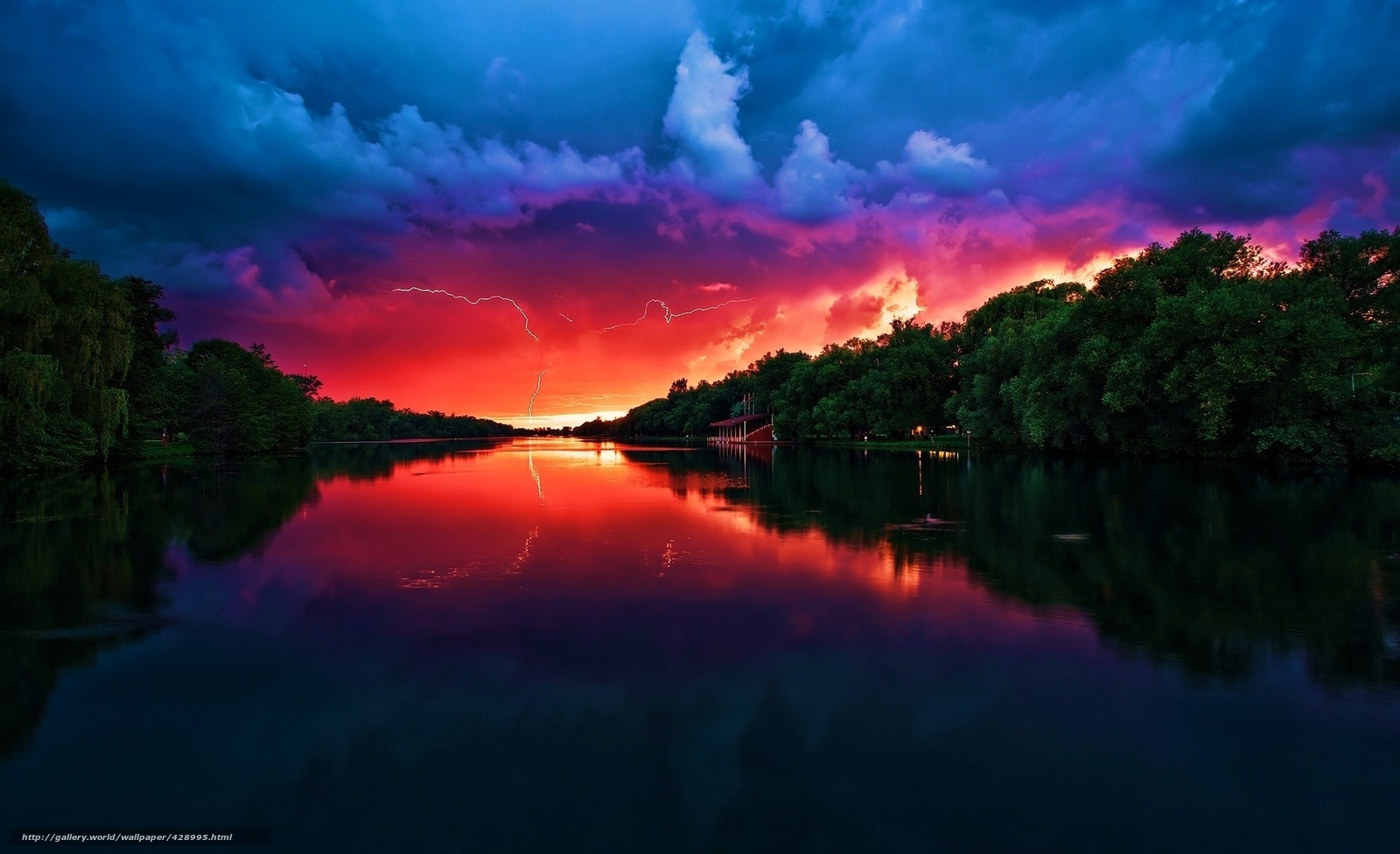 Download wallpaper clouds,  river,  lightning,  sunset free desktop wallpaper in the resolution 1920x1171 — picture №428995