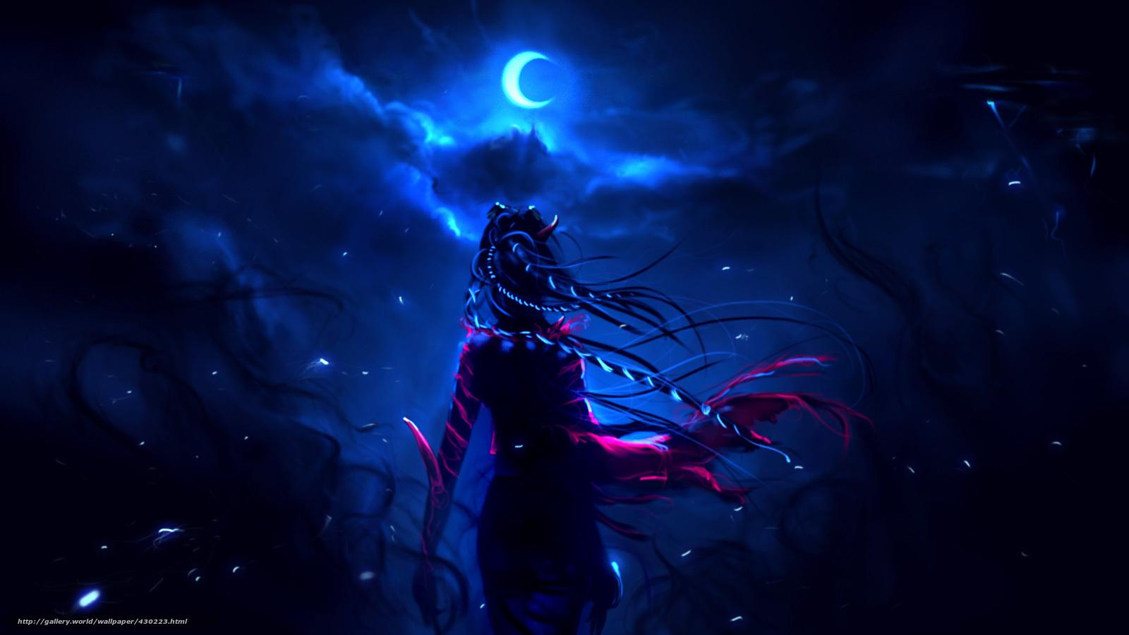 壁紙をダウンロード 夜 月 巫女 デスクトップの解像度のための無料壁紙 1600x900 絵