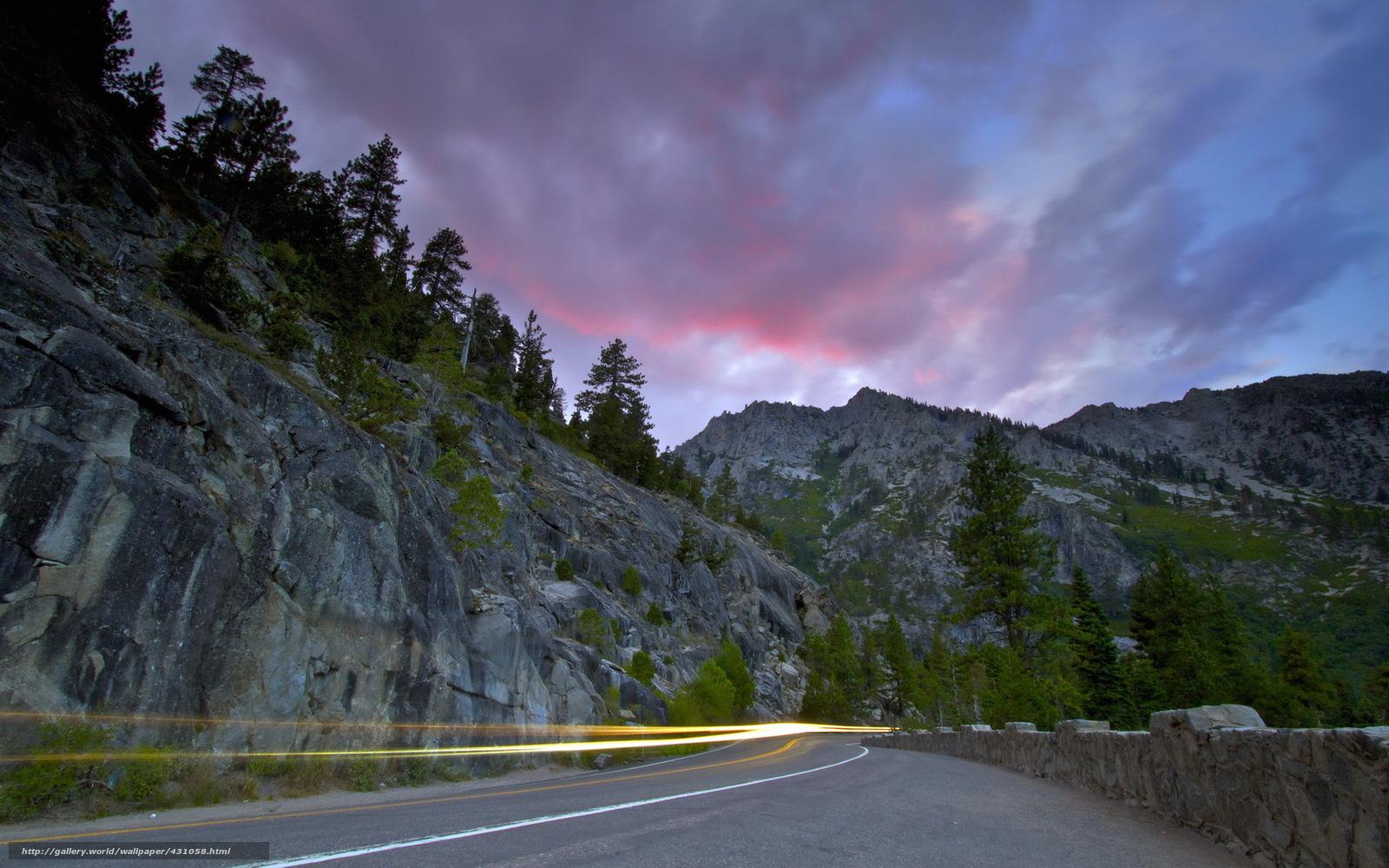 Скачать обои закат,  дорога,  след,  пейзаж бесплатно для рабочего стола в разрешении 1680x1050 — картинка №431058