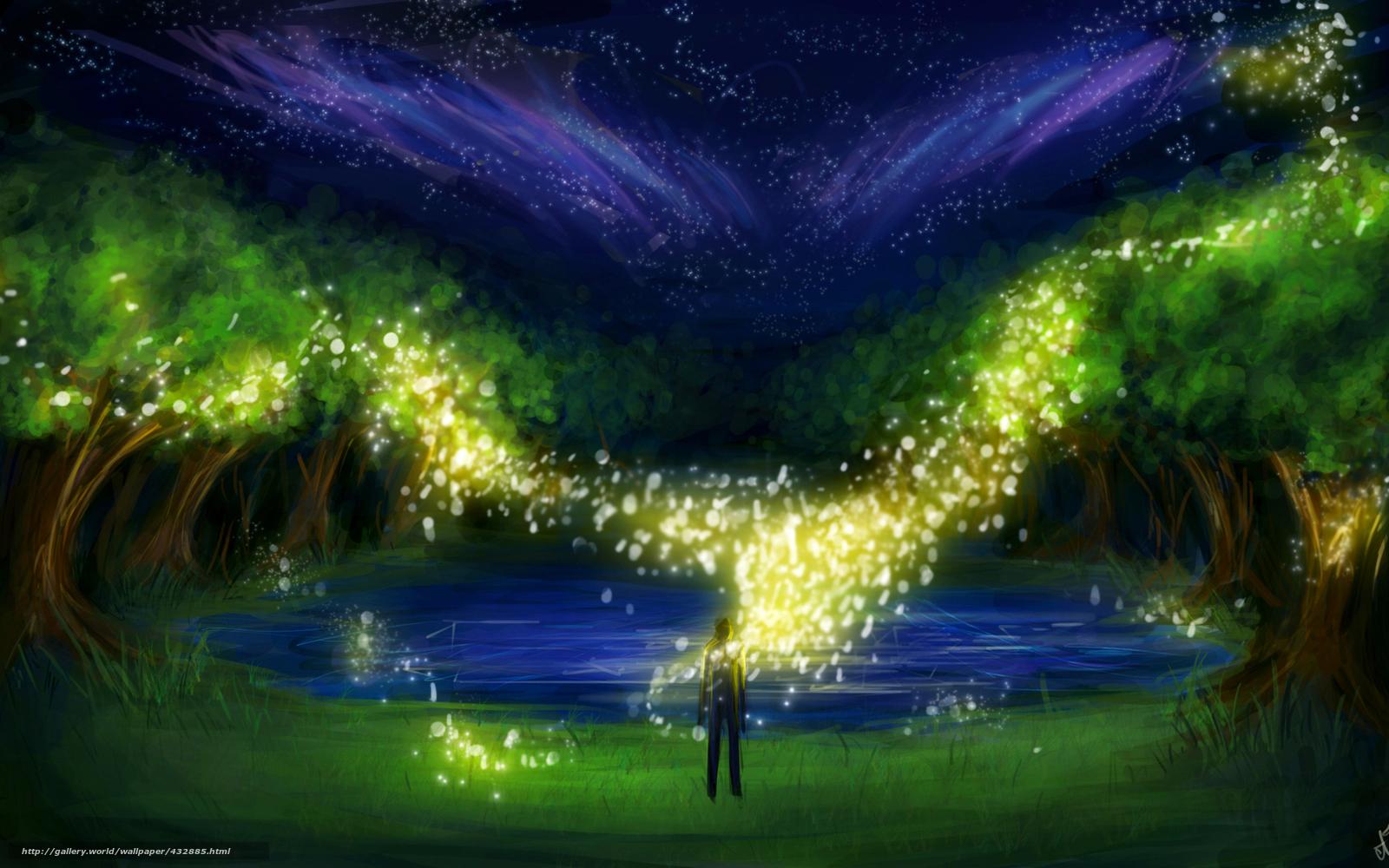 Скачать обои арт,  ночь,  деревья,  человек бесплатно для рабочего стола в разрешении 1680x1050 — картинка №432885