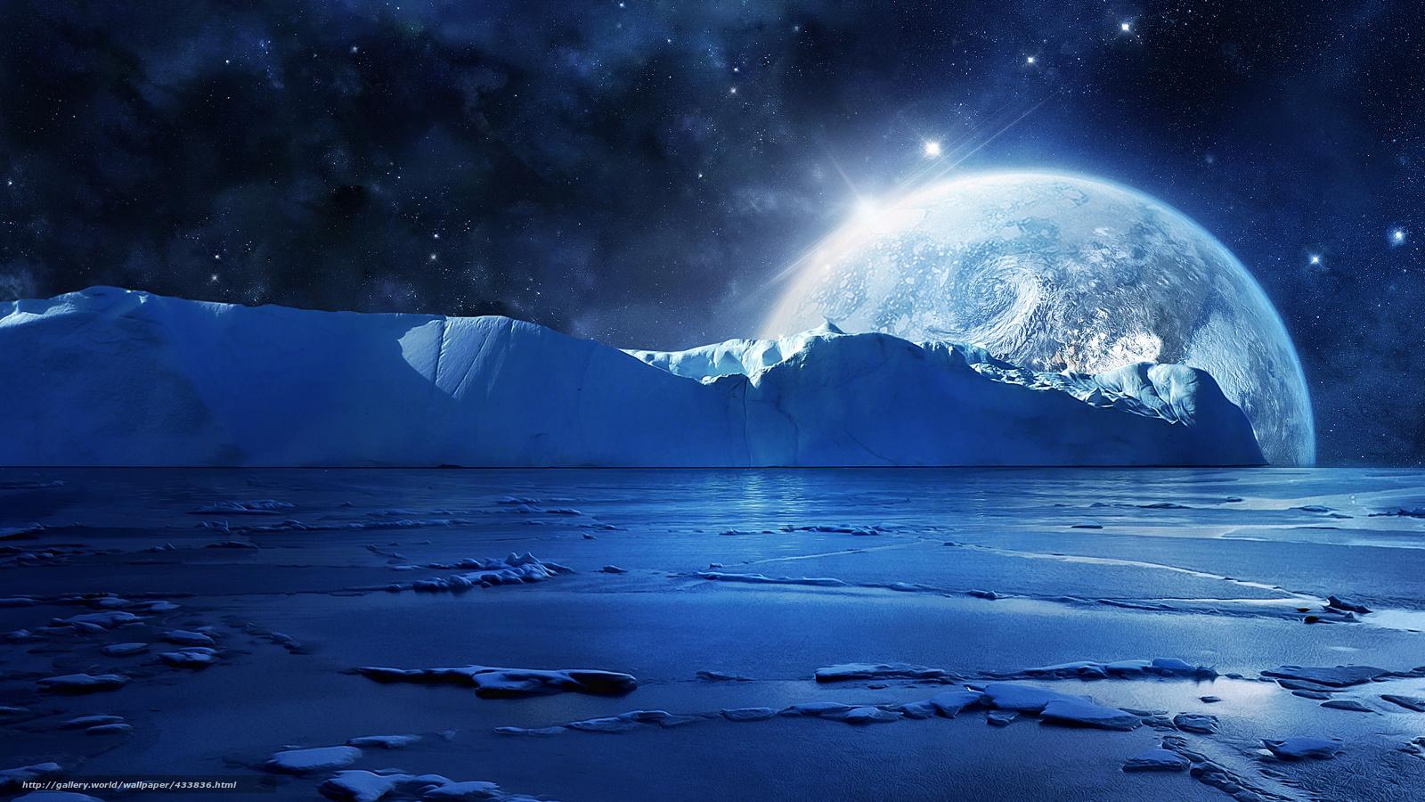 Download wallpaper moon, iceberg, sea, Arctic free desktop ...