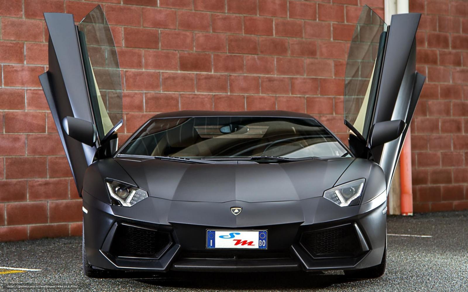 Download Wallpaper Lamborghini Aventador Matt Black Front Free