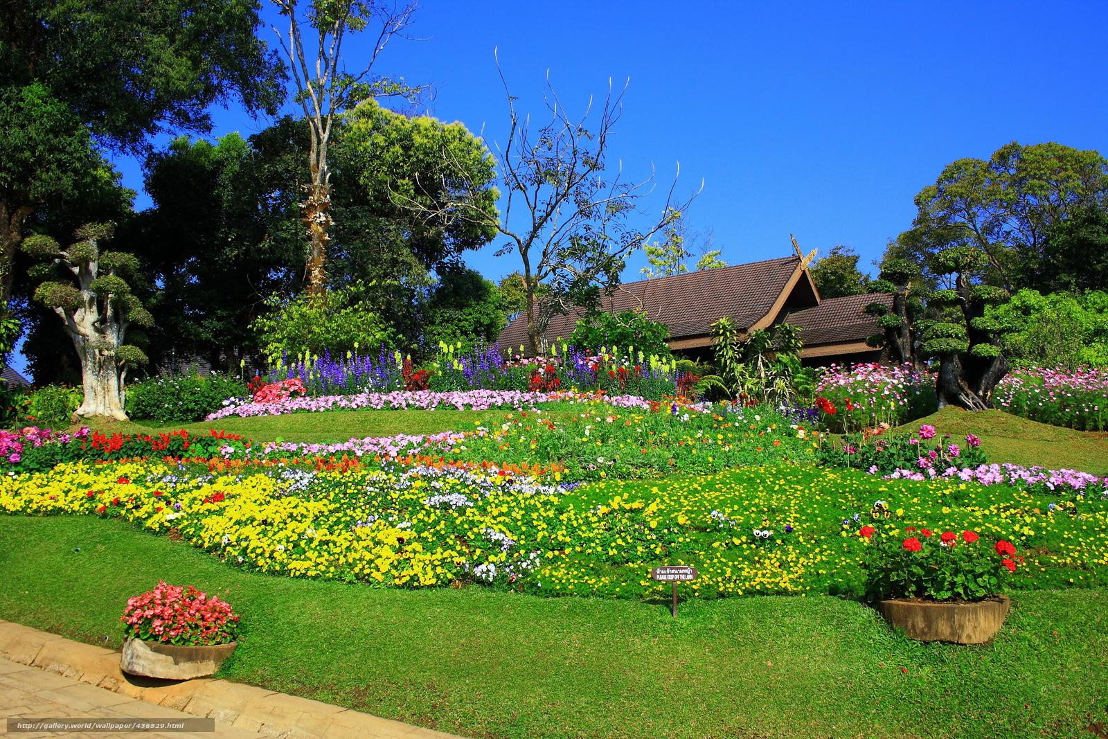 tlcharger fond d 39 ecran jardin maison parterre de fleurs mer de fleurs fonds d 39 ecran gratuits. Black Bedroom Furniture Sets. Home Design Ideas