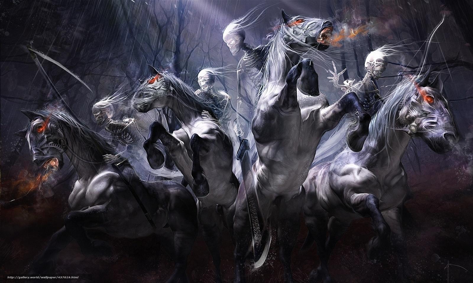 scaricare gli sfondi Riders,  Scheletri,  Cavalli,  treccia Sfondi gratis per la risoluzione del desktop 1920x1150 — immagine №437019