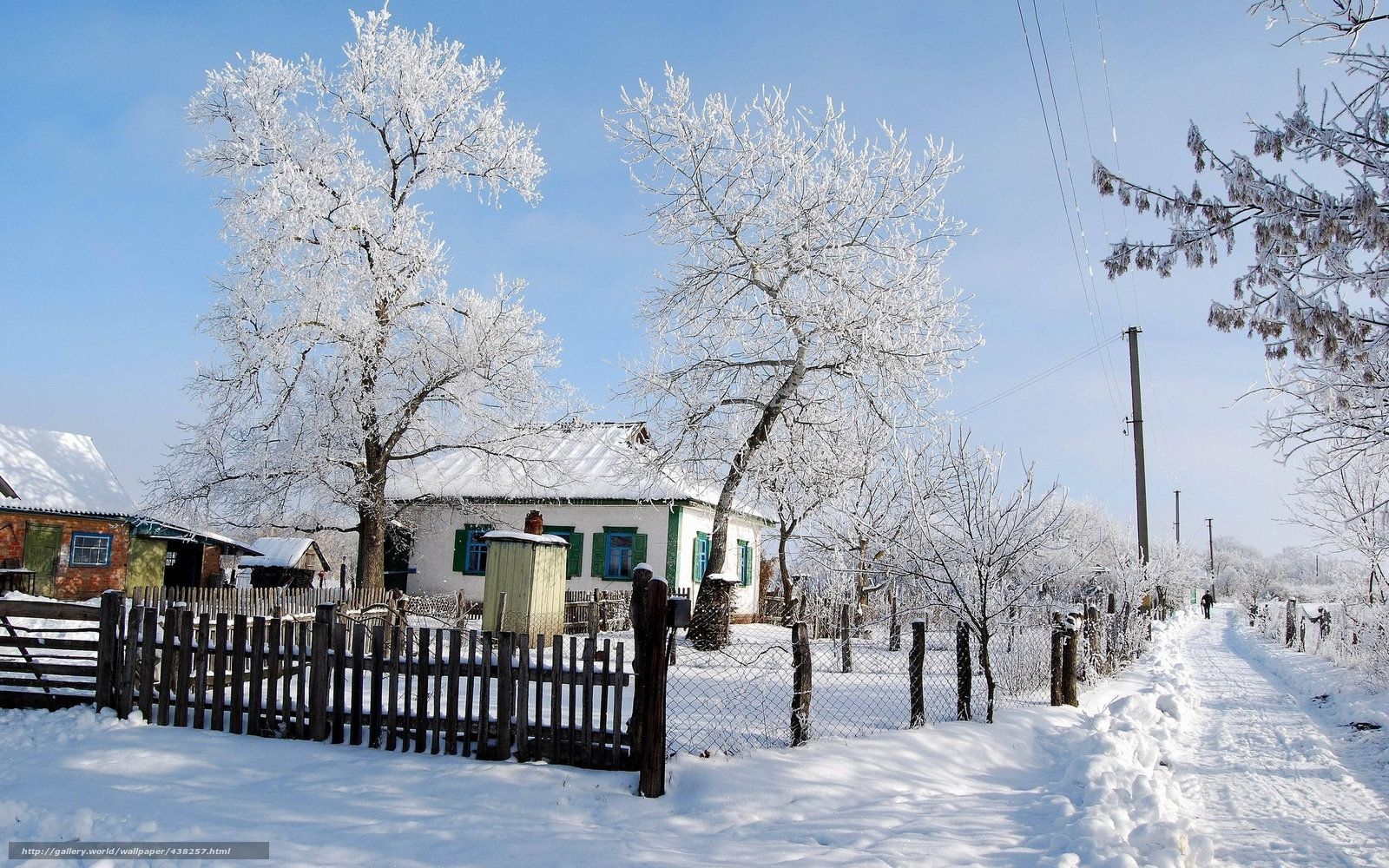 Обои на рабочий стол деревня зима