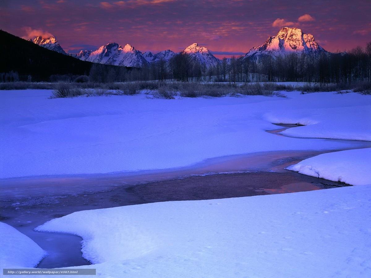 Скачать обои снег,  зима,  ручей,  горы бесплатно для рабочего стола в разрешении 1600x1200 — картинка №4387