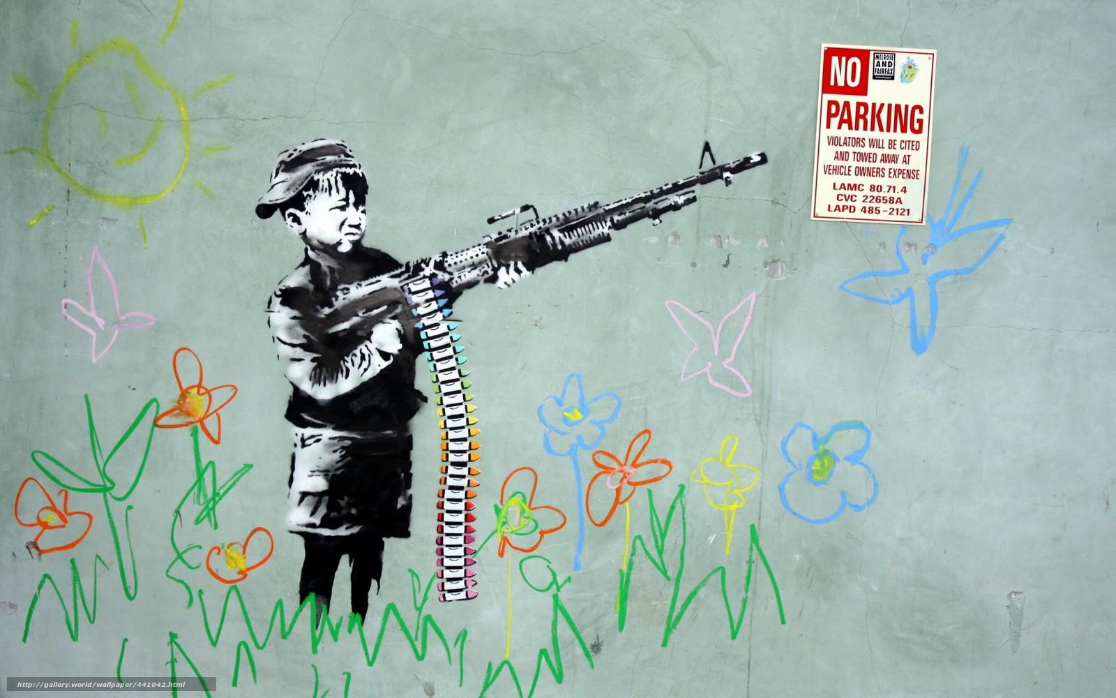 Скачать обои стена,  рисунок,  мальчик,  оружие бесплатно для рабочего стола в разрешении 1680x1050 — картинка №441042