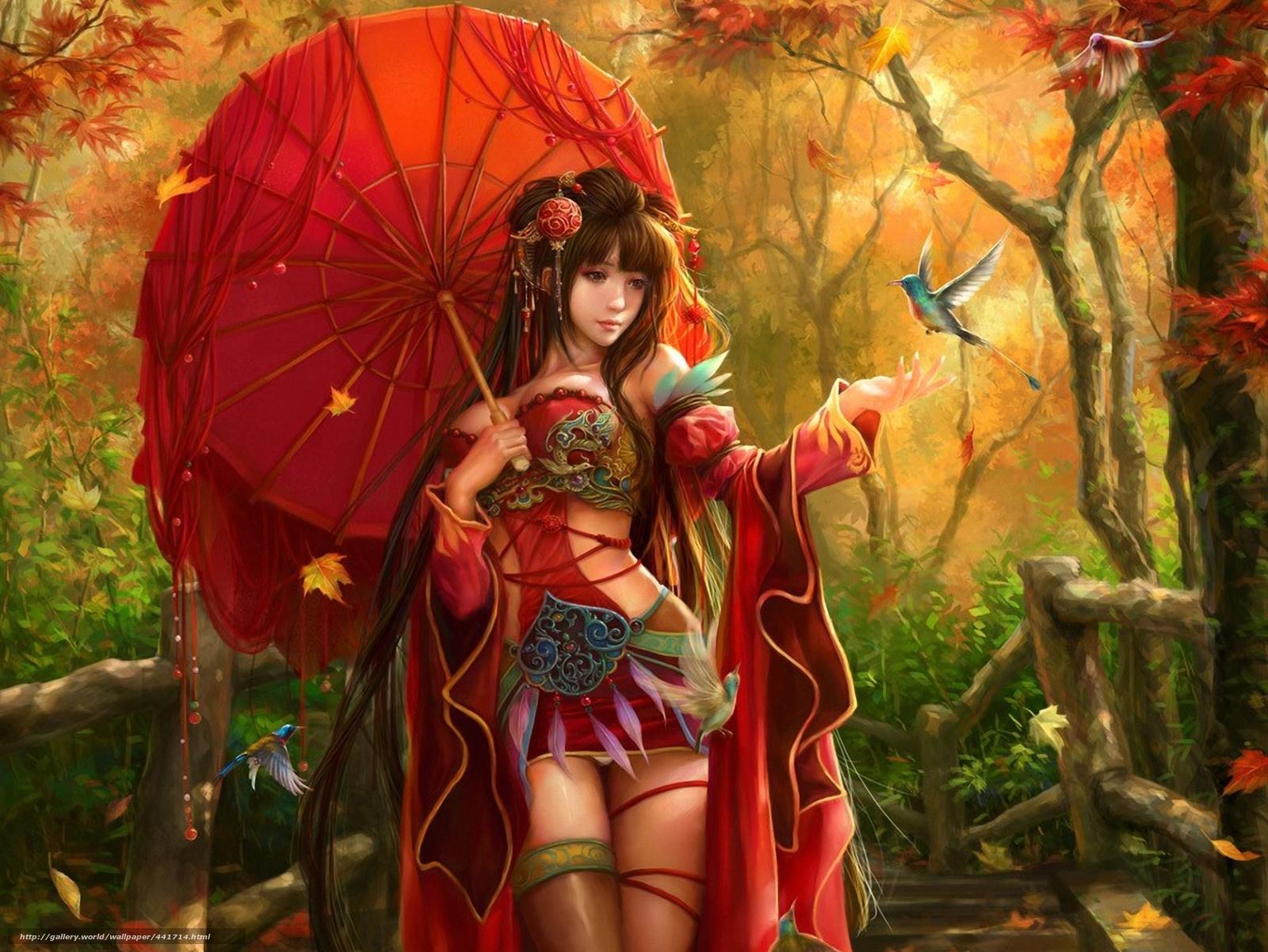 Скачать обои арт,  девушка,  зонт,  зонтик бесплатно для рабочего стола в разрешении 1920x1442 — картинка №441714