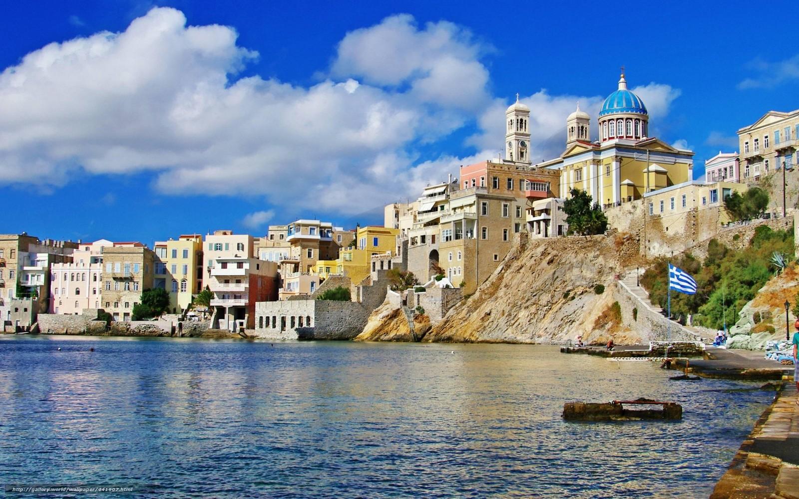 scaricare gli sfondi mare costa citt grecia sfondi