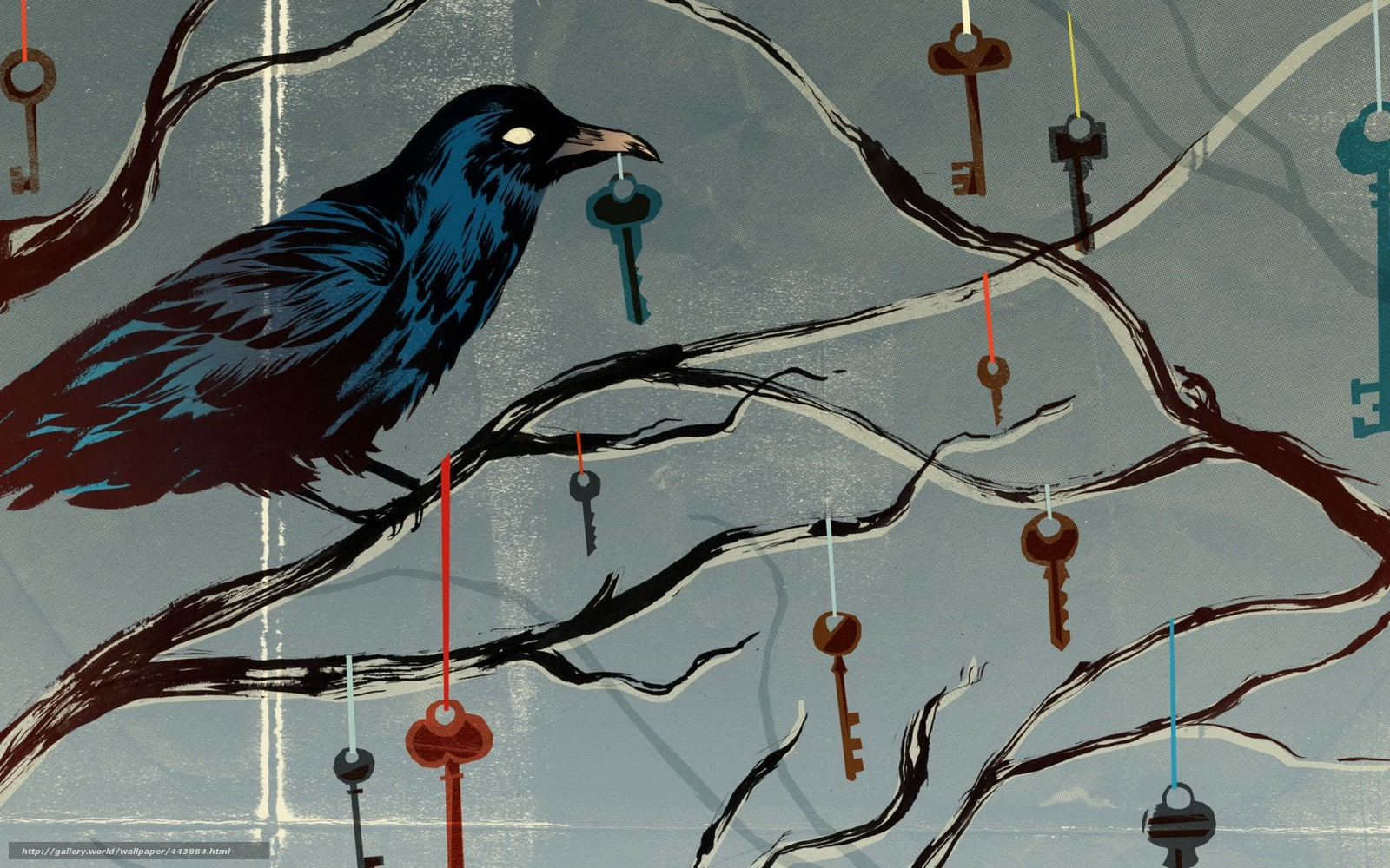 Download wallpaper crow,  Keys,  branch,  Ribbons free desktop wallpaper in the resolution 1680x1050 — picture №443884