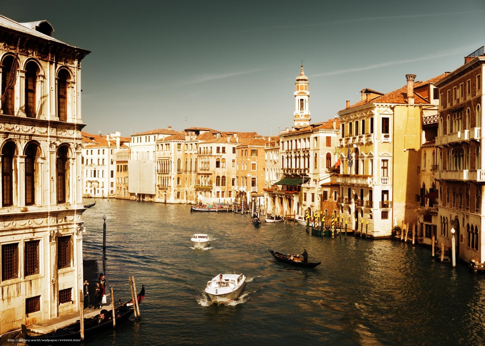 Обои дома, grand canal, водный канал, катера, венеция. Города foto 16