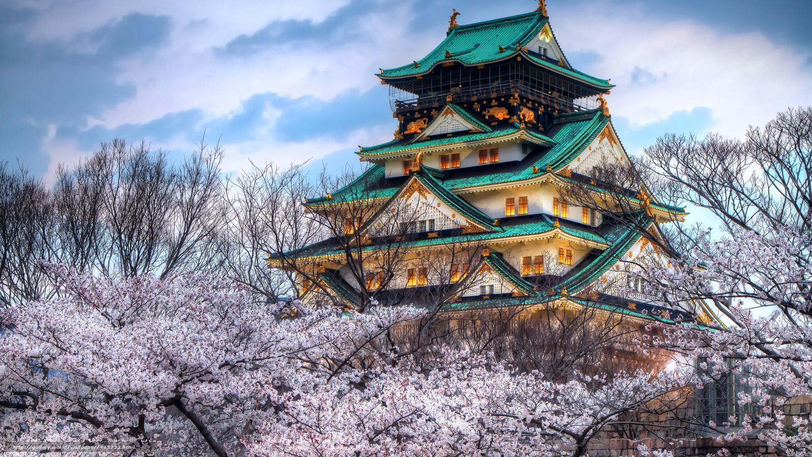 Скачать обои Небо,  облака,  пагода,  вишня бесплатно для рабочего стола в разрешении 1920x1080 — картинка №445732