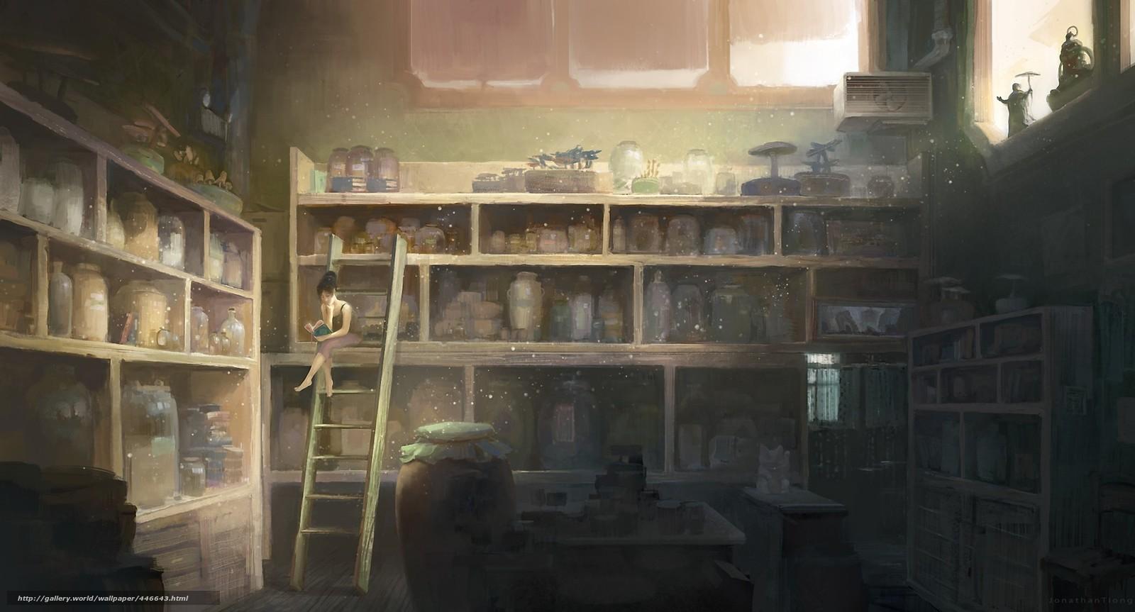 Скачать обои арт,  девушка,  книги,  библиотека бесплатно для рабочего стола в разрешении 2002x1080 — картинка №446643