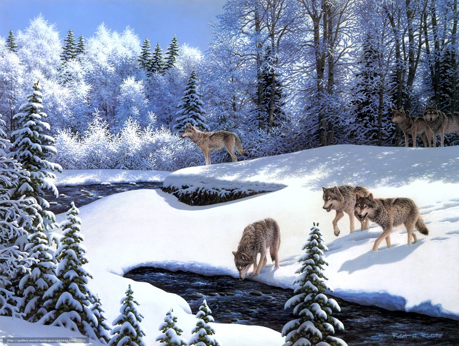 Download wallpaper painting,  animals,  Wolves,  Wolf Pack free desktop wallpaper in the resolution 2304x1734 — picture №449643