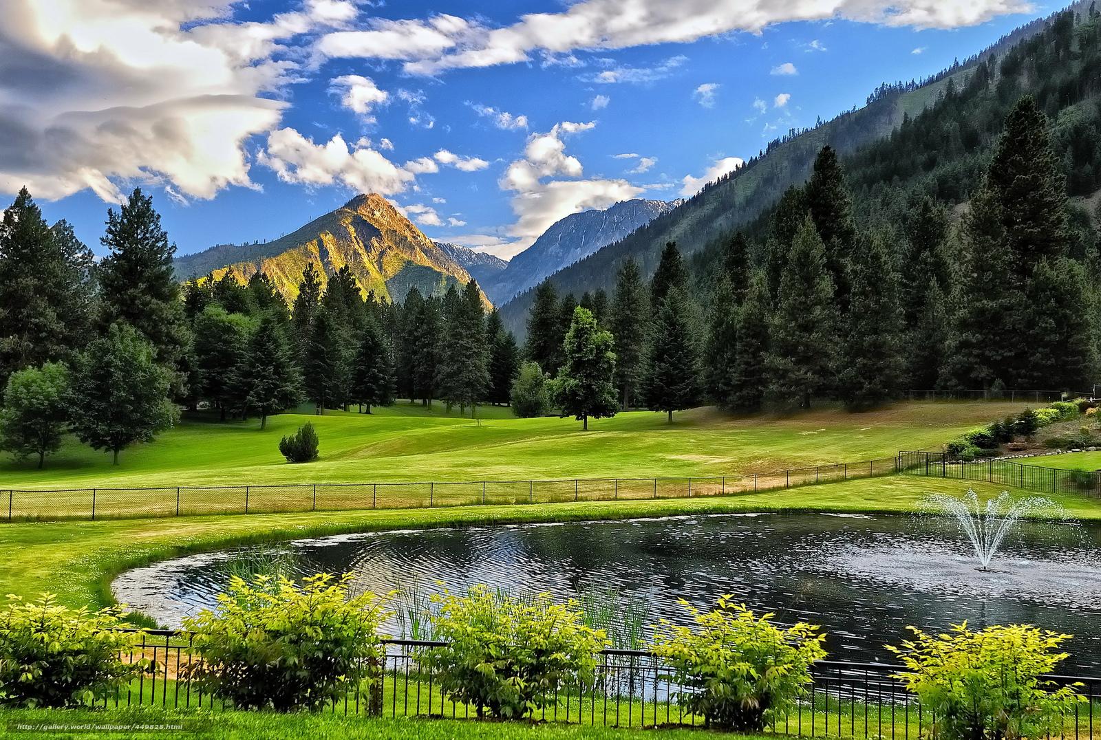 scaricare gli sfondi stagno,  fontana,  Montagne,  alberi Sfondi gratis per la risoluzione del desktop 2048x1377 — immagine №449828