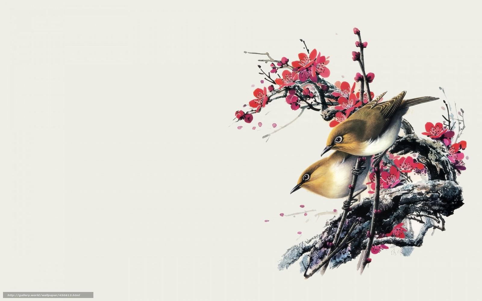 tlcharger fond d 39 ecran dessin aquarelle oiseaux fleurs fonds d 39 ecran gratuits pour votre. Black Bedroom Furniture Sets. Home Design Ideas