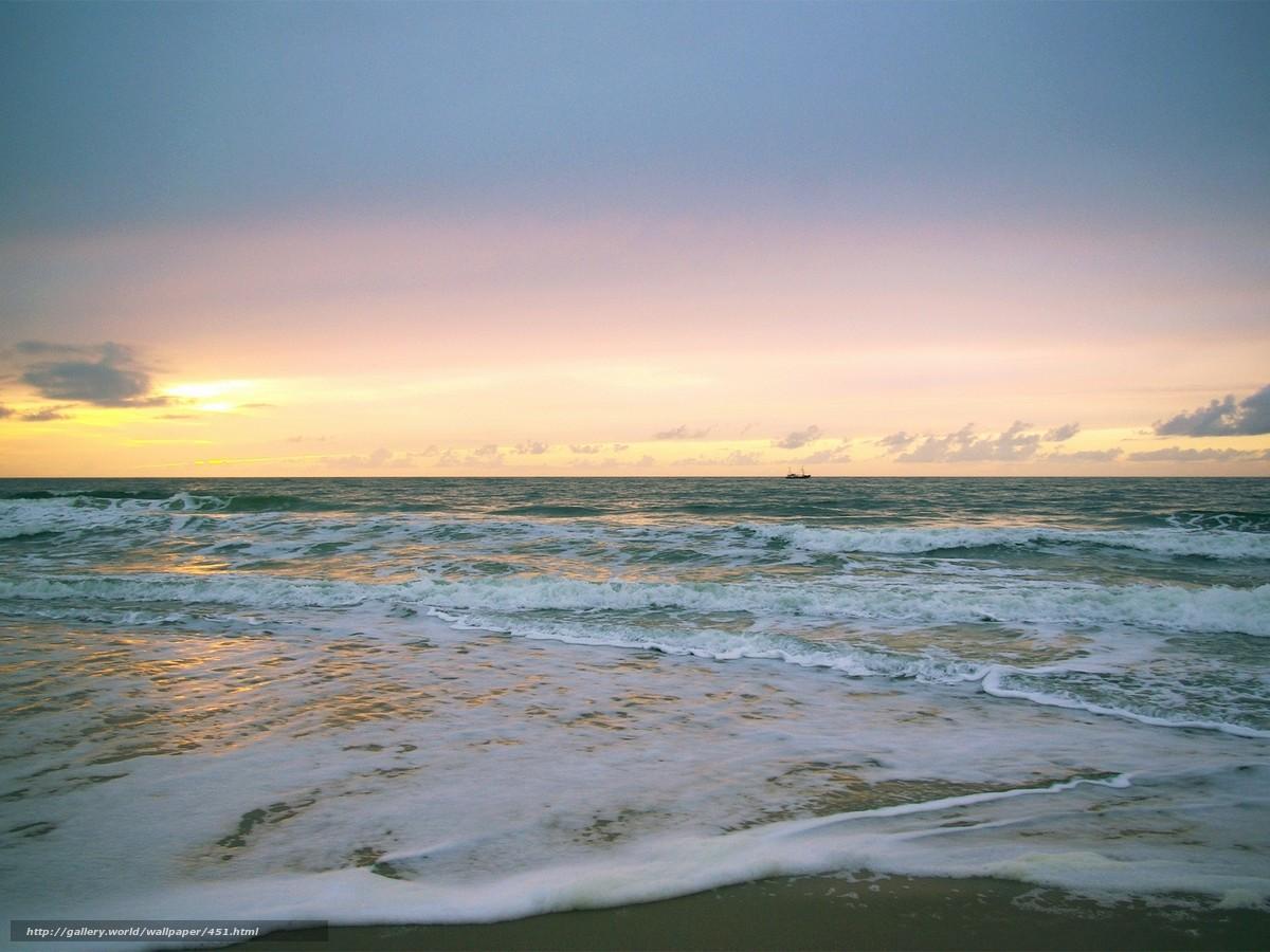 Скачать обои волны,  море,  солнце,  восход бесплатно для рабочего стола в разрешении 1600x1200 — картинка №451