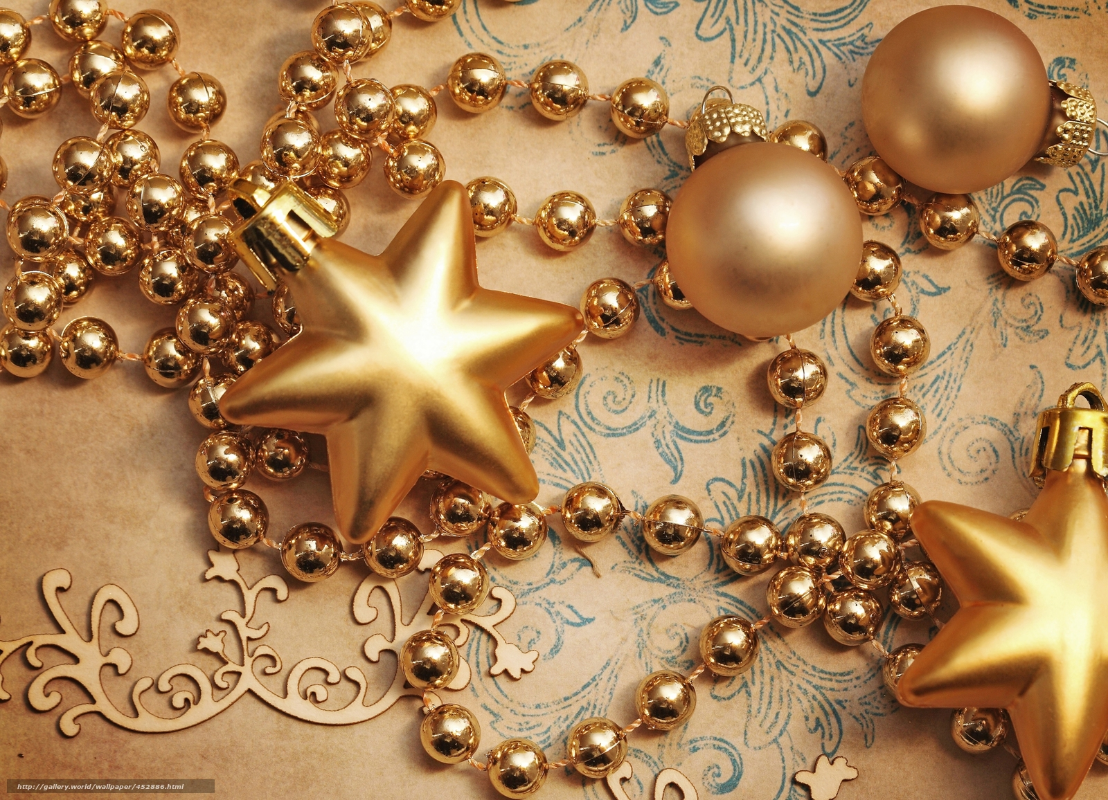 Download wallpaper Star,  Balls,  Beads,  Gold free desktop wallpaper in the resolution 5050x3650 — picture №452886