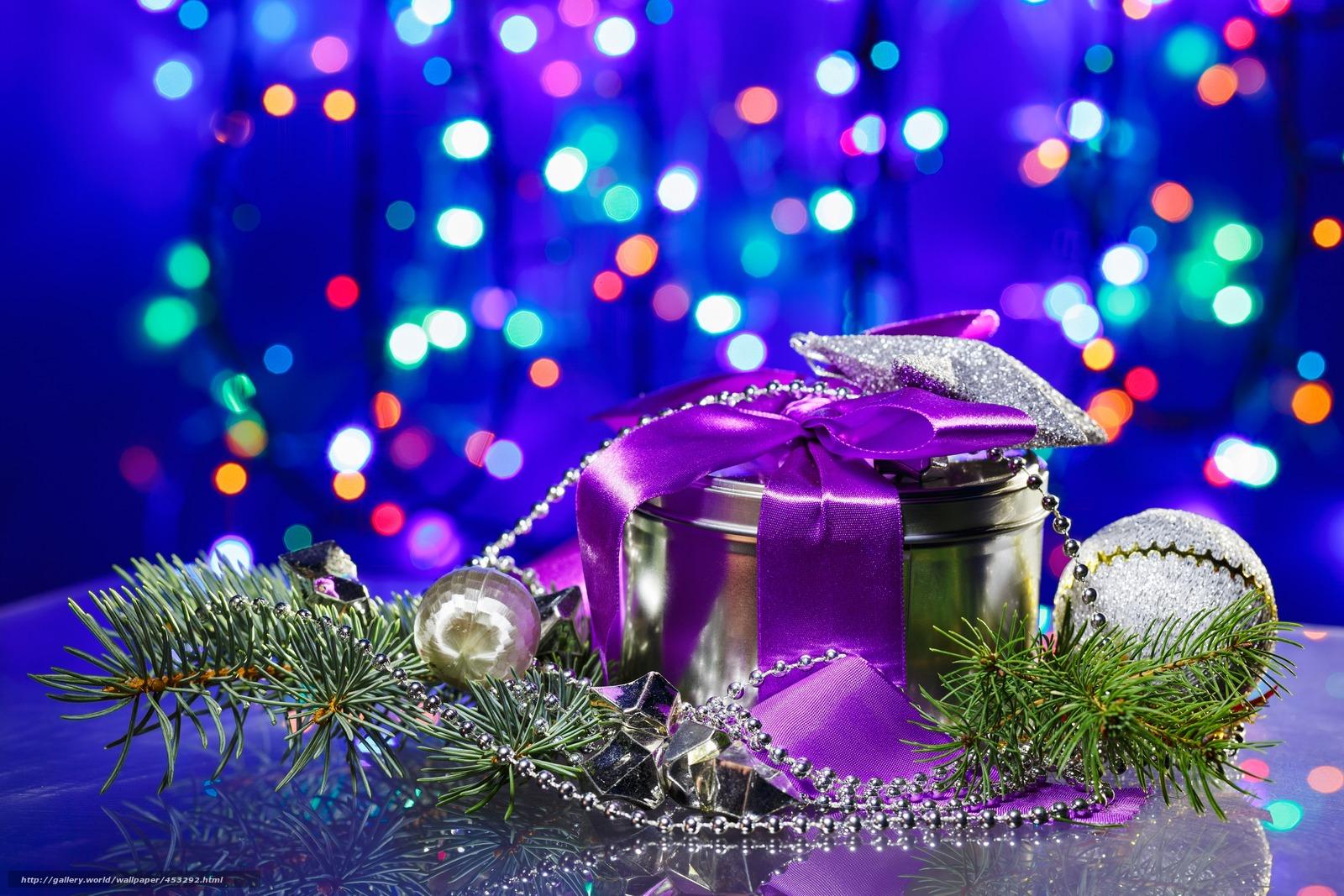 壁紙をダウンロード 贈り物,  モミの木,  ビーズ,  ぼけ味 デスクトップの解像度のための無料壁紙 5725x3817 — 絵 №453292