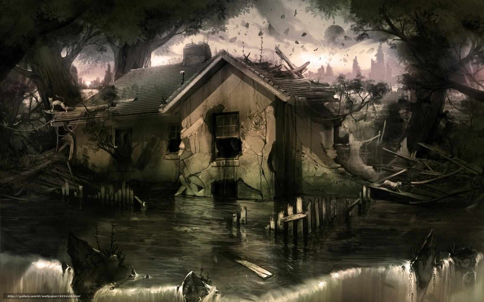 Скачать обои арт,  дом,  вода,  руины бесплатно для рабочего стола в разрешении 1680x1050 — картинка №453448