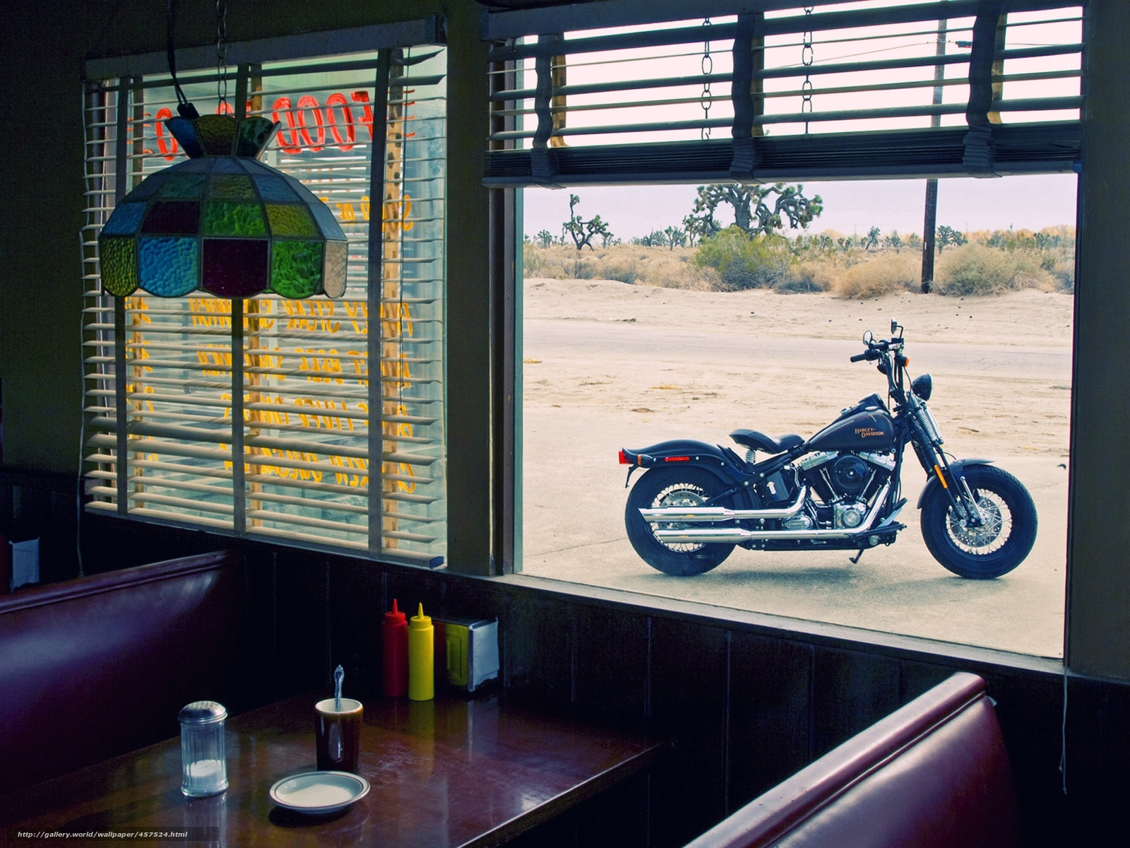 Download wallpaper harley-davidson,  cafe,  view,  window free desktop wallpaper in the resolution 1920x1440 — picture №457524