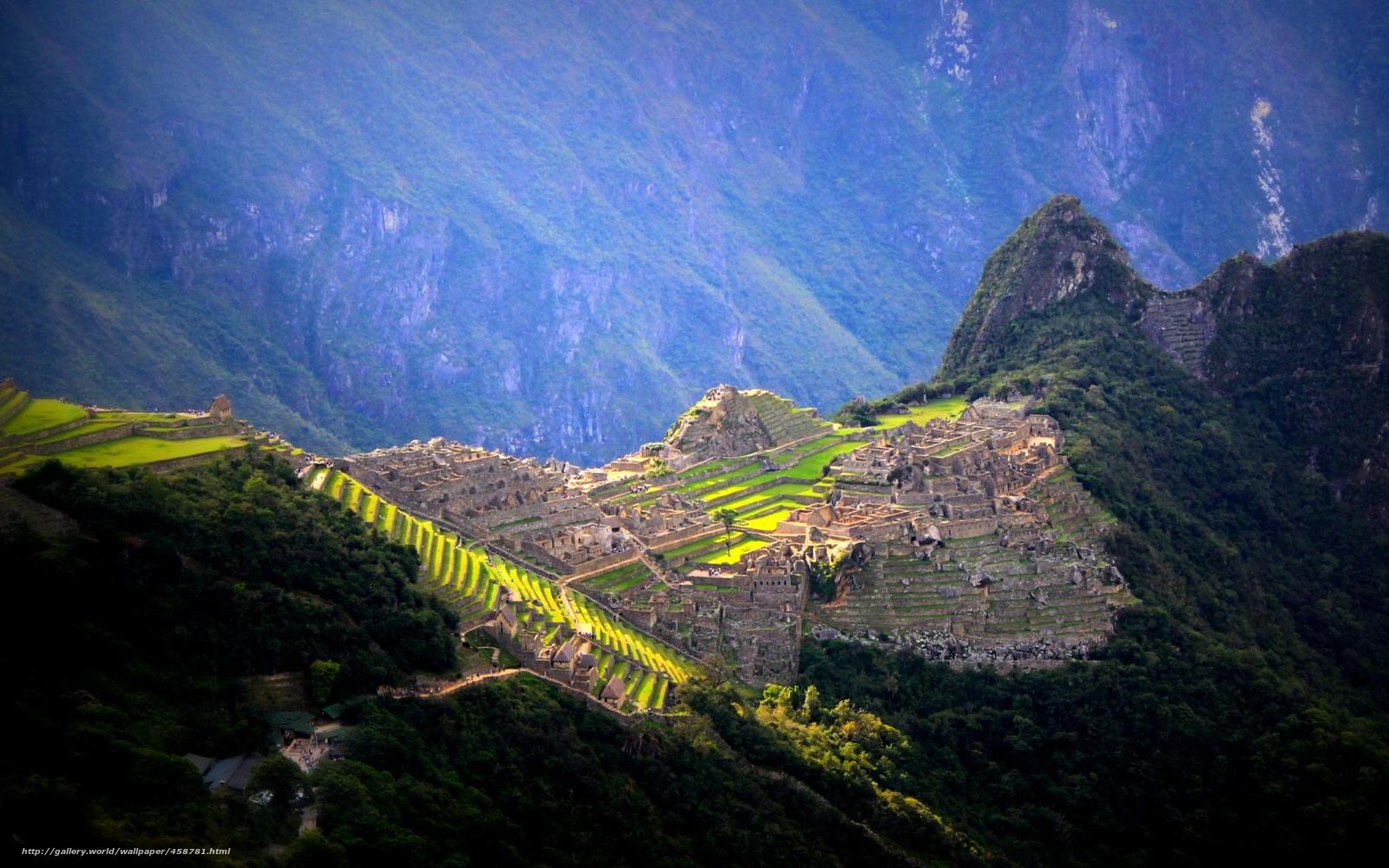 Download wallpaper Peru,  Machu Picchu,  City of the Incas,  ancient civilizations free desktop wallpaper in the resolution 1680x1050 — picture №458781