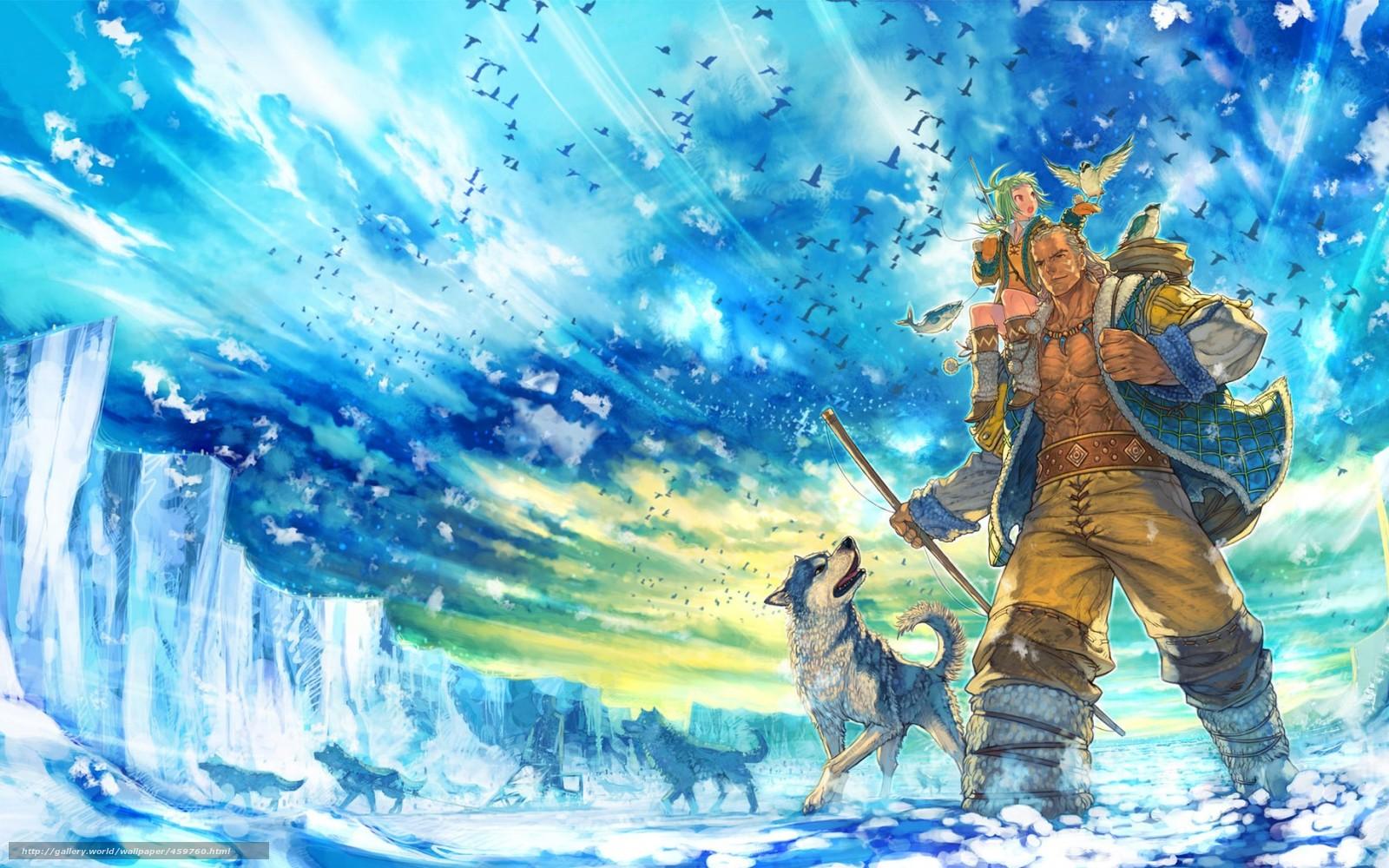 Download wallpaper Art,  man,  Wolves,  girl free desktop wallpaper in the resolution 1680x1050 — picture №459760
