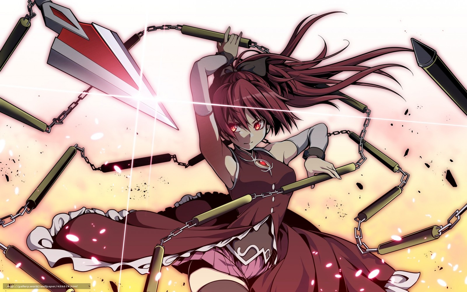 Download wallpaper art girl weapon chain free desktop - Anime girl with weapon ...