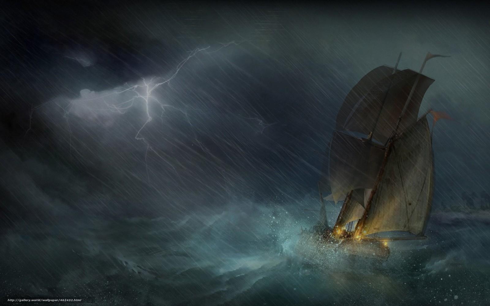 Download wallpaper Art,  sea,  storm,  ship free desktop wallpaper in the resolution 1680x1050 — picture №462432