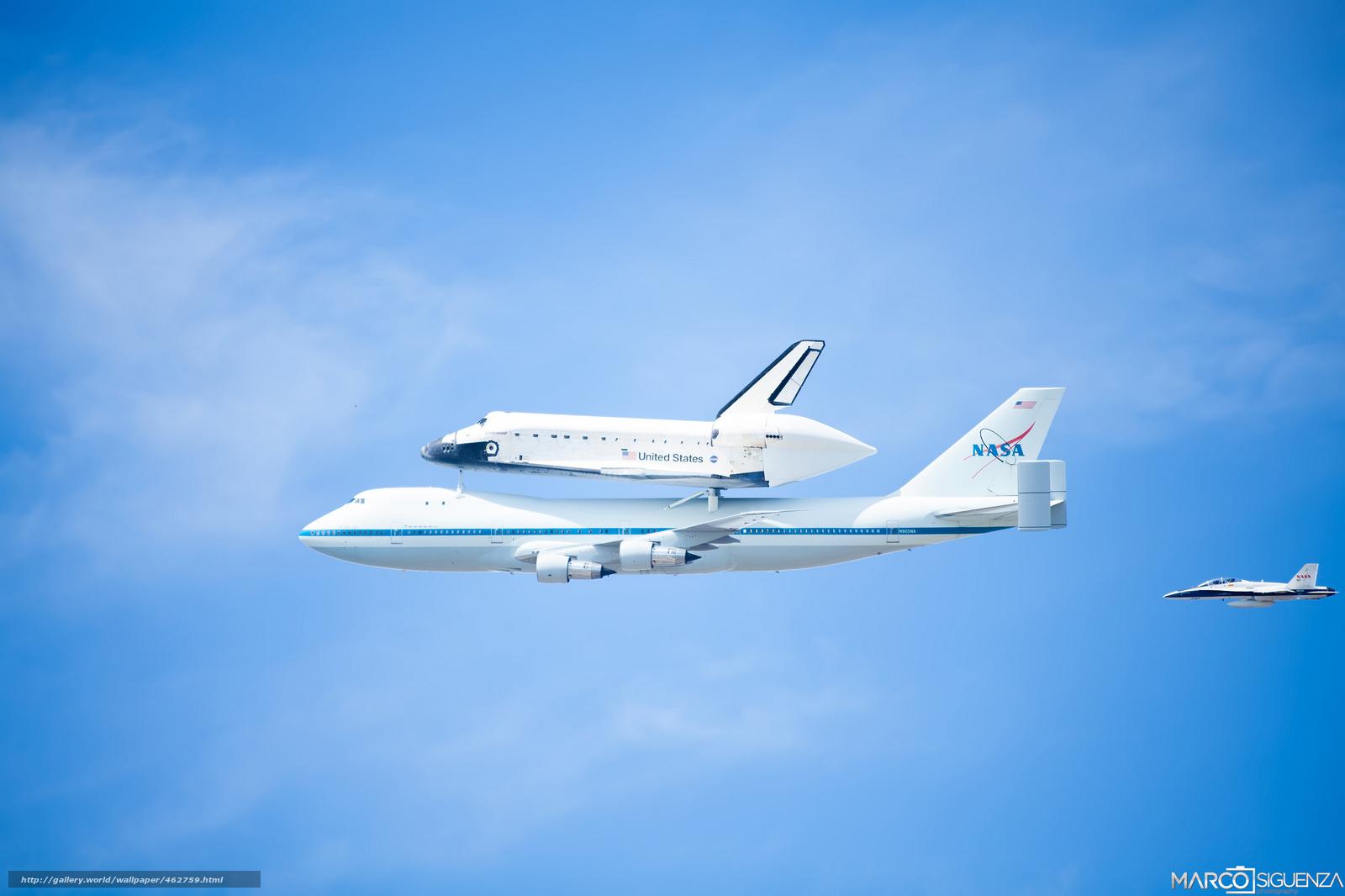 Скачать обои боинг,  шатл,  самолёт,  небо бесплатно для рабочего стола в разрешении 2048x1365 — картинка №462759