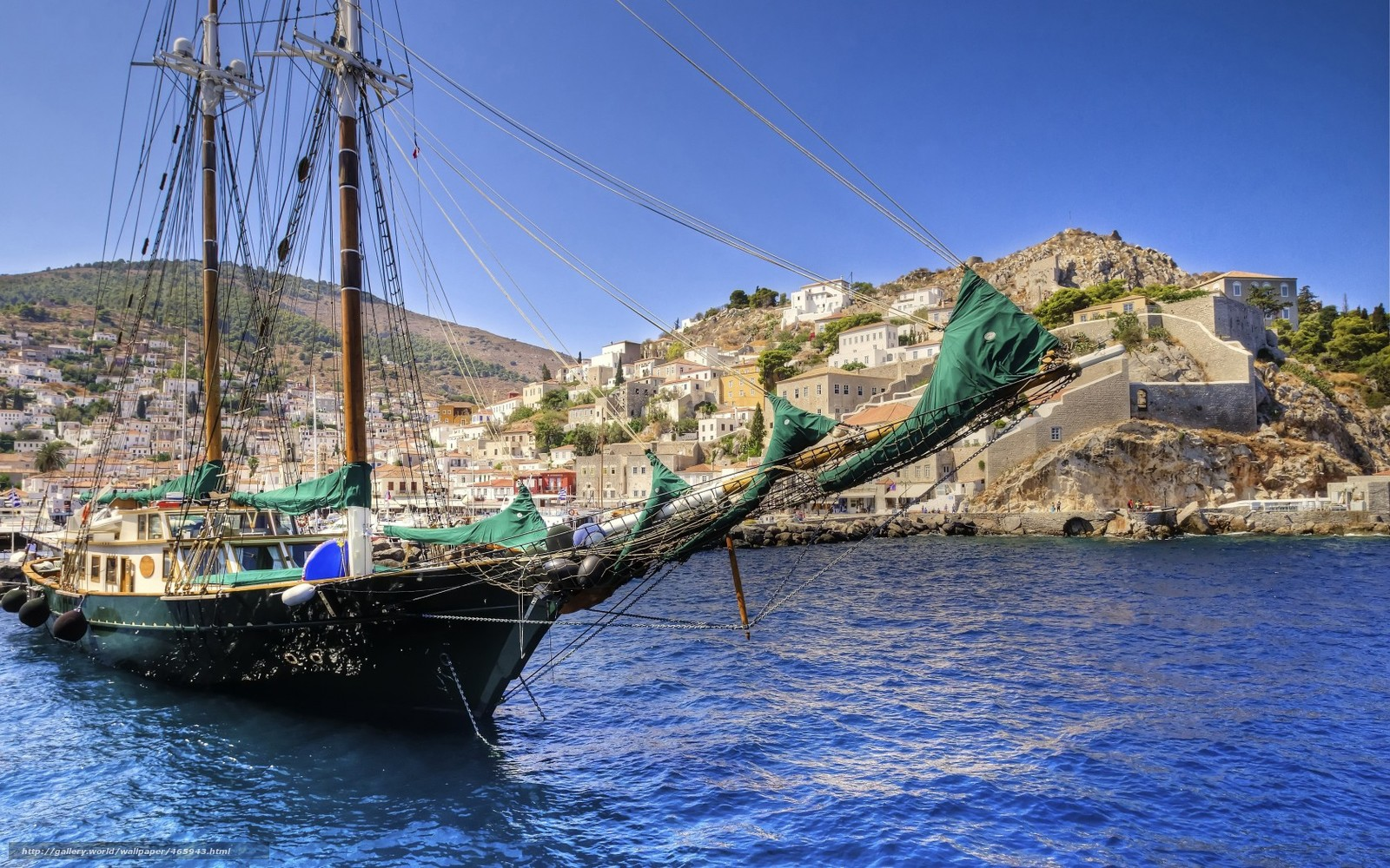 Download wallpaper sailing ship,  ship,  sea,  Greece free desktop wallpaper in the resolution 1680x1050 — picture №465943