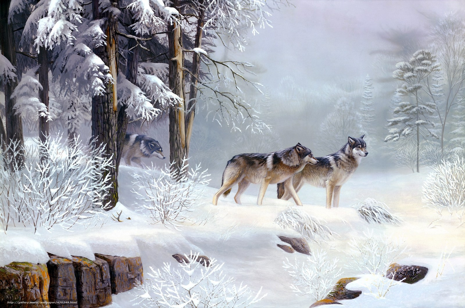 Download wallpaper painting,  animals,  Wolves,  Winter free desktop wallpaper in the resolution 2250x1490 — picture №470249