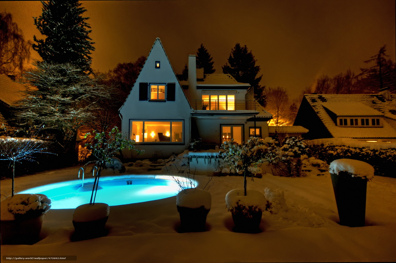 Download wallpaper home,  Mansion,  Pools,  night free desktop wallpaper in the resolution 2592x1721 — picture №473092