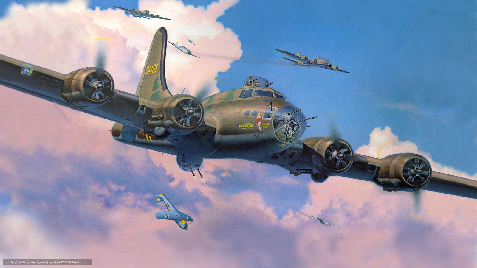 Скачать обои Летающая крепость,  бомбардировщики,  истребители,  перехват бесплатно для рабочего стола в разрешении 1920x1080 — картинка №473214