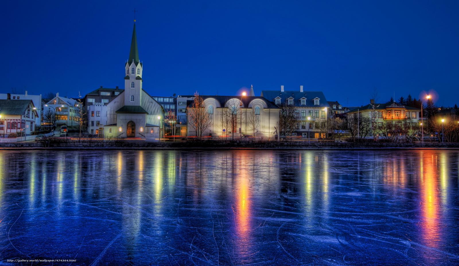 scaricare gli sfondi Islanda,  Fiume,  inverno,  Reykjavik Sfondi gratis per la risoluzione del desktop 3072x1782 — immagine №474364