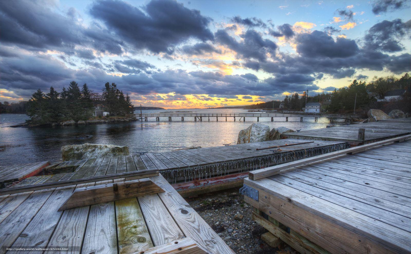 Download wallpaper river,  wharf,  bridges,  island free desktop wallpaper in the resolution 5618x3468 — picture №474390