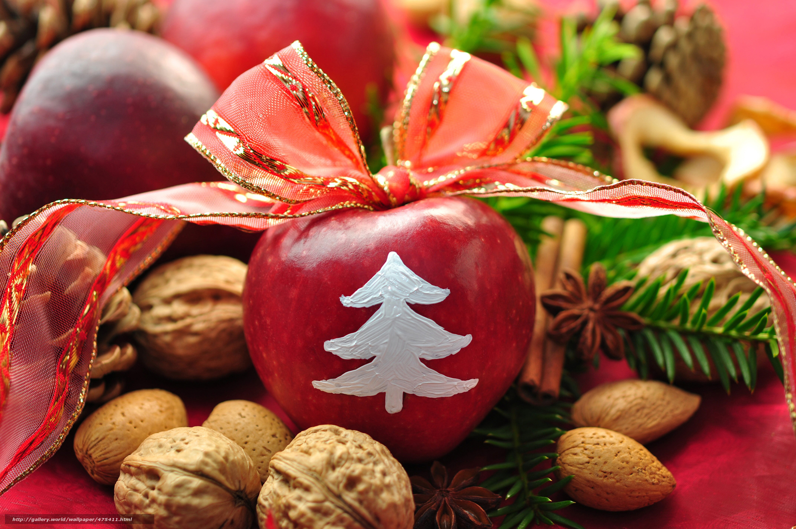 Download wallpaper New Year,  holiday,  table,  apples free desktop wallpaper in the resolution 4000x2657 — picture №475411