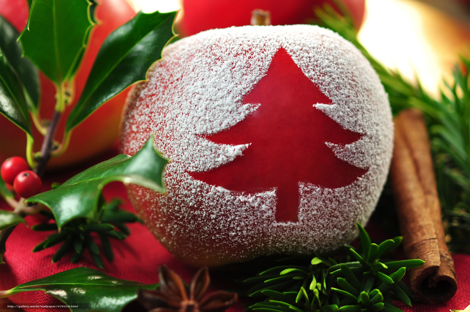 Download wallpaper New Year,  holiday,  table,  apple free desktop wallpaper in the resolution 4000x2657 — picture №475418