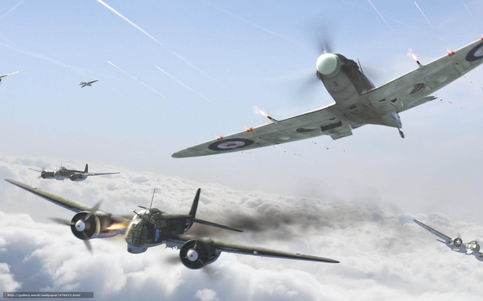 Скачать обои воздушный бой,  вторая мировая война,  британцы,  нападение бесплатно для рабочего стола в разрешении 1680x1050 — картинка №476071