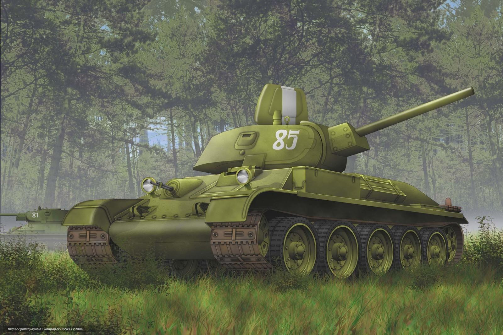 Скачать обои танкк,  лес,  советский бесплатно для рабочего стола в разрешении 2835x1890 — картинка №476947