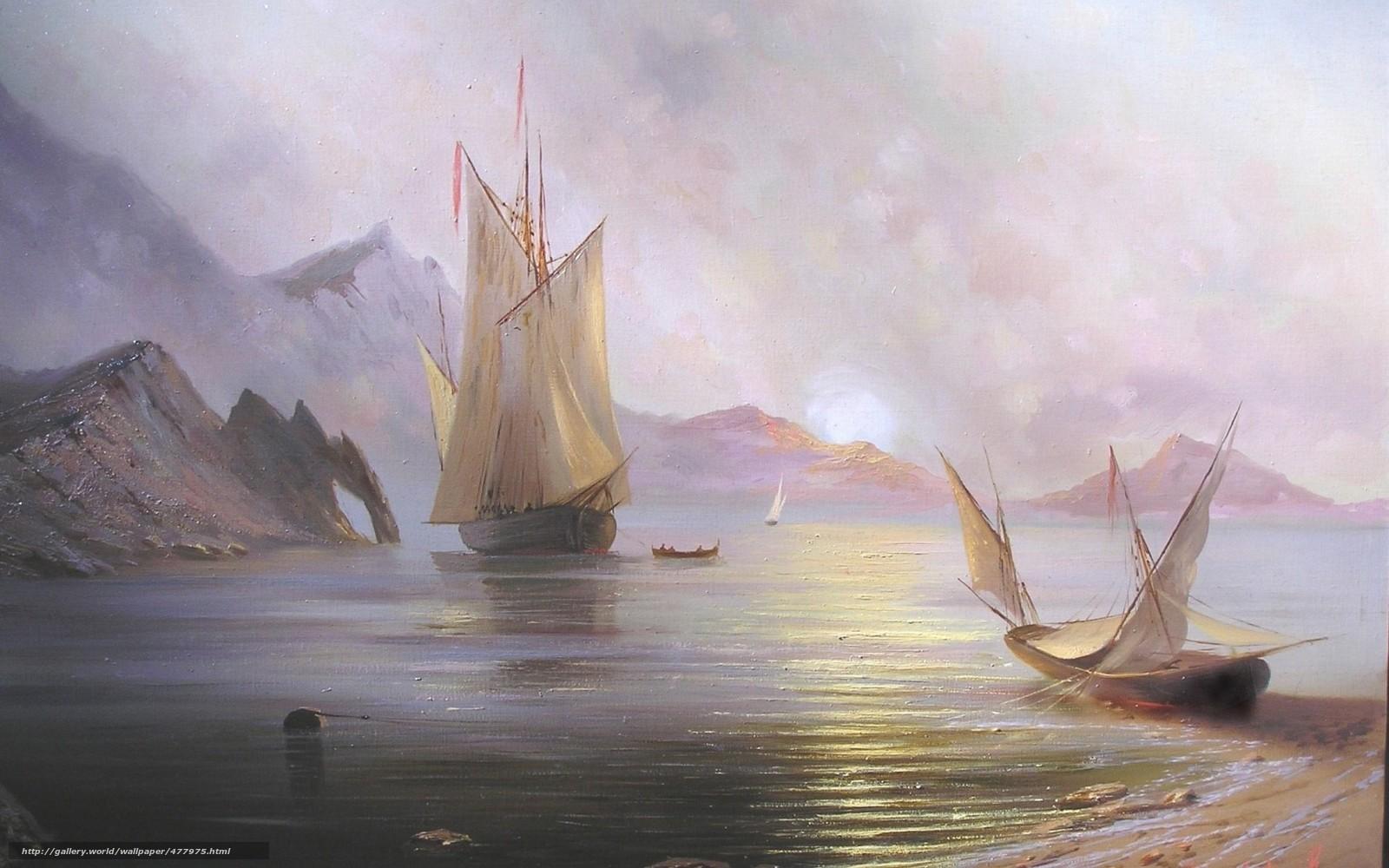 scaricare gli sfondi Alexander Miliukov,  Alba in mare,  paesaggio,  sole Sfondi gratis per la risoluzione del desktop 1680x1050 — immagine №477975