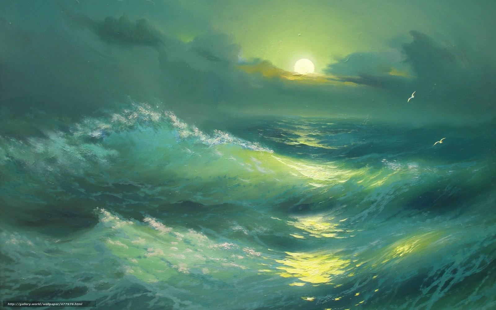 scaricare gli sfondi Alexander Miliukov,  notte,  paesaggio,  onda Sfondi gratis per la risoluzione del desktop 1680x1050 — immagine №477976