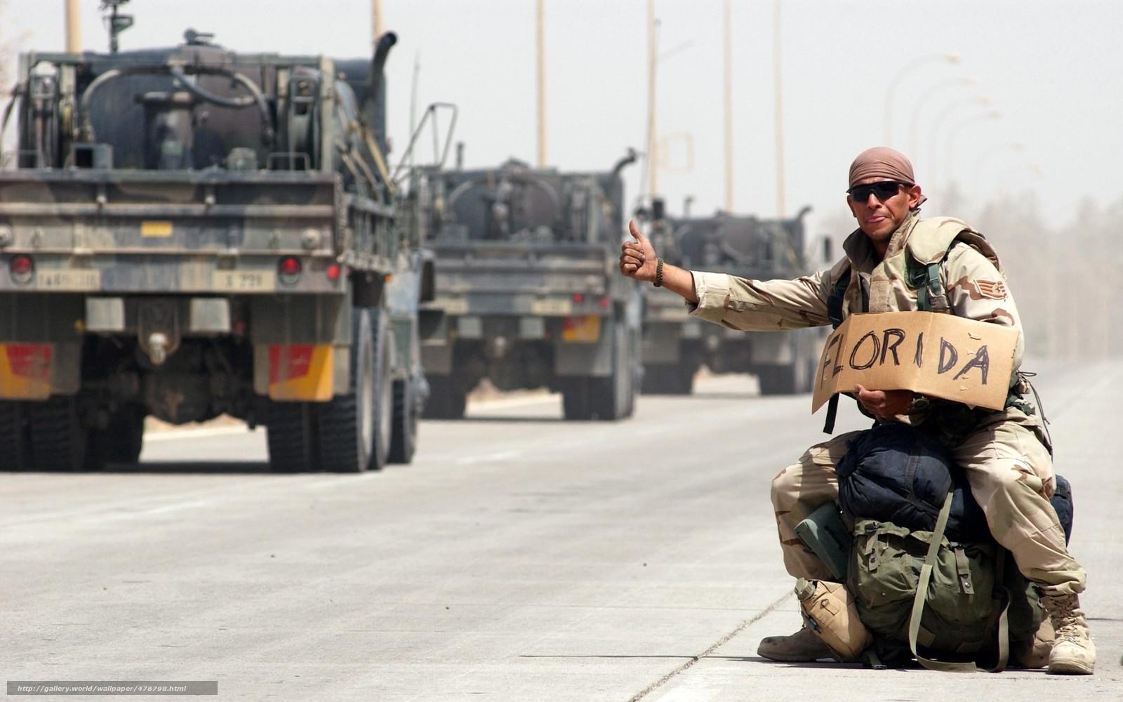 Tlcharger Fond d'ecran camion,  soldat,  l'auto-stop,  route Fonds d'ecran gratuits pour votre rsolution du bureau 1680x1050 — image №478798