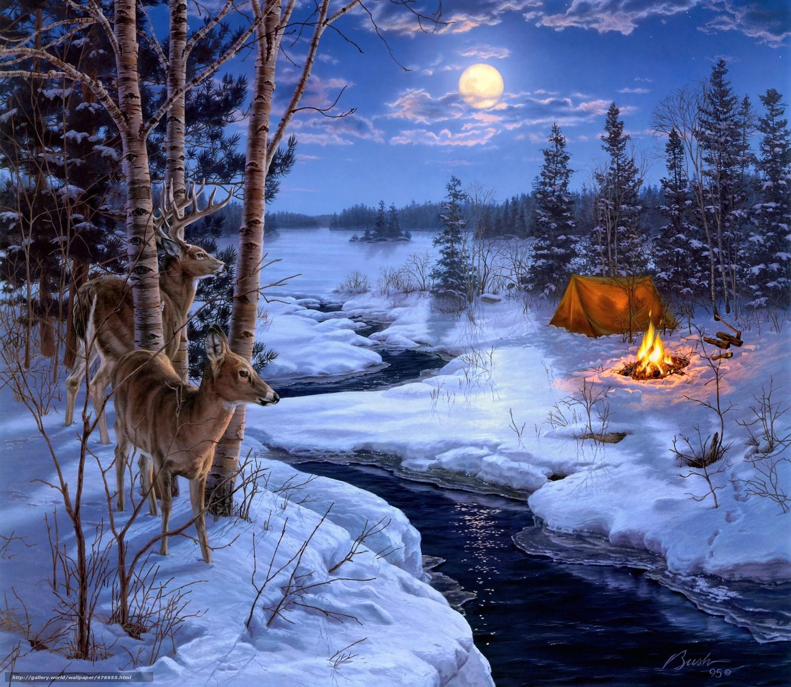 Tlcharger fond d 39 ecran peinture hiver neige animaux for Fond ecran hiver animaux