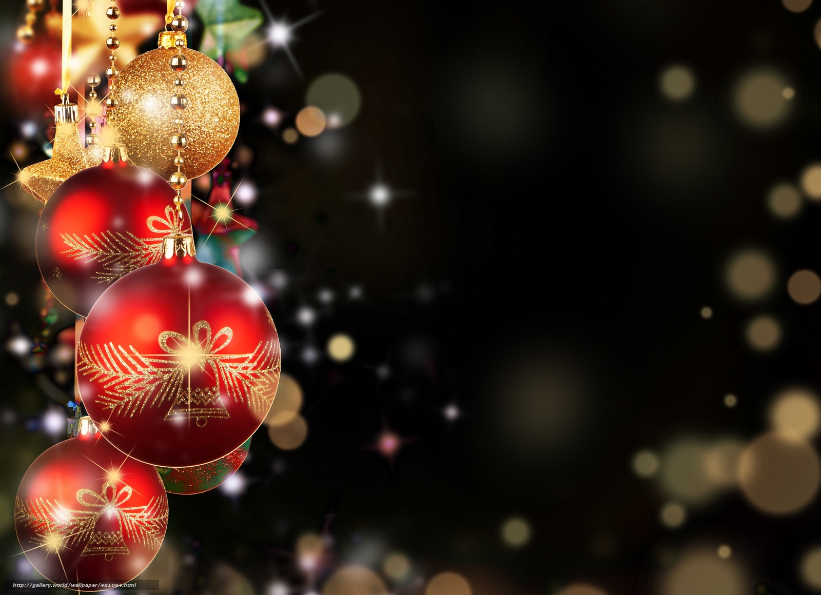 download wallpaper balls red gold christmas free. Black Bedroom Furniture Sets. Home Design Ideas