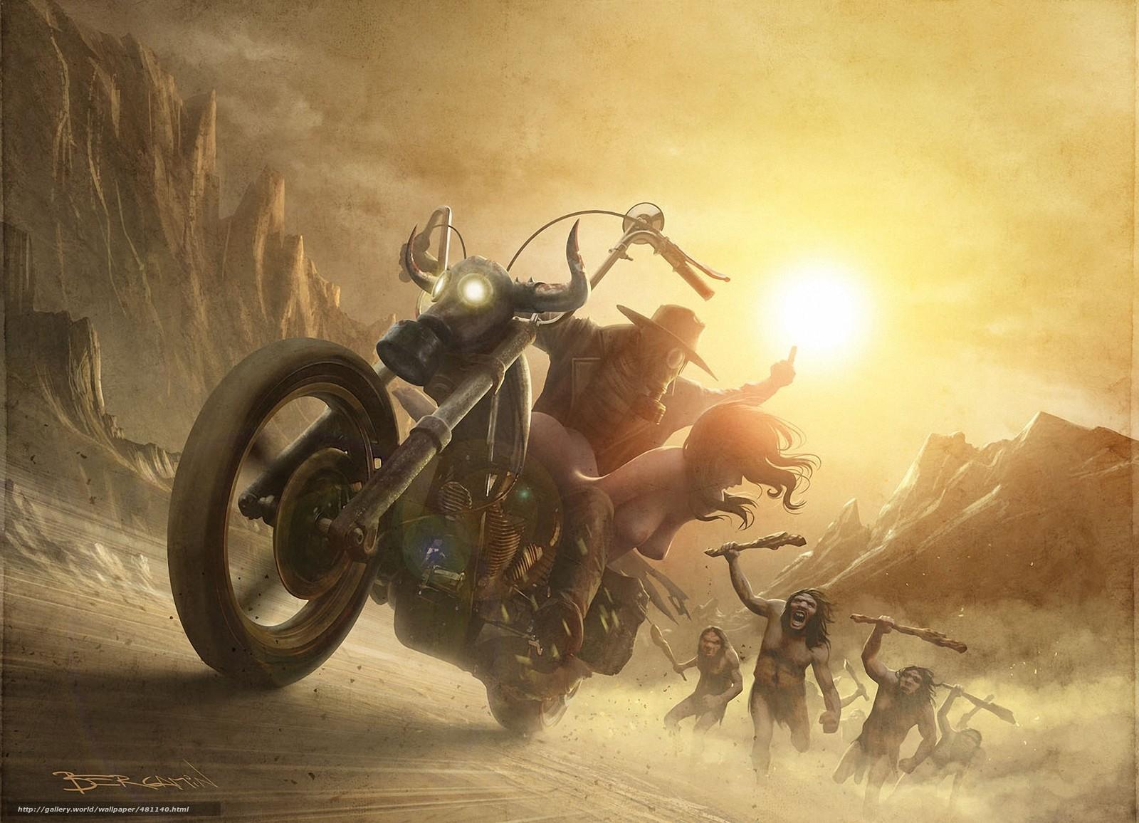 scaricare gli sfondi Arte,  motocicletta,  tipo,  ragazza Sfondi gratis per la risoluzione del desktop 1925x1391 — immagine №481140