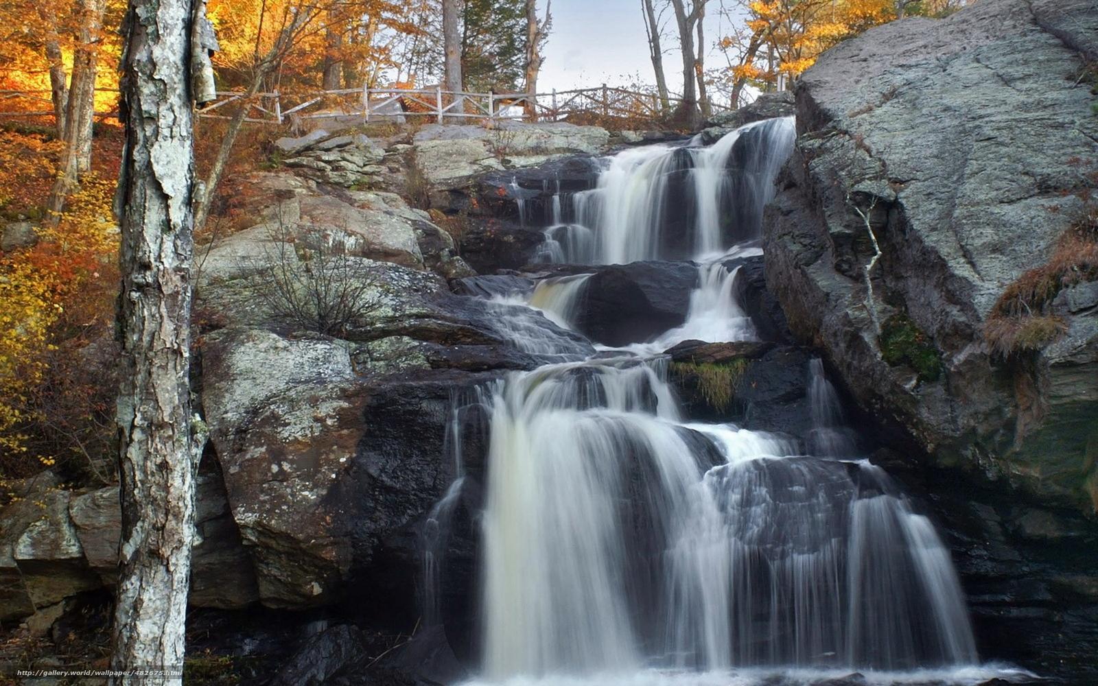 Download wallpaper nature,  waterfalls,  Autumn Falls free desktop wallpaper in the resolution 1920x1200 — picture №482675