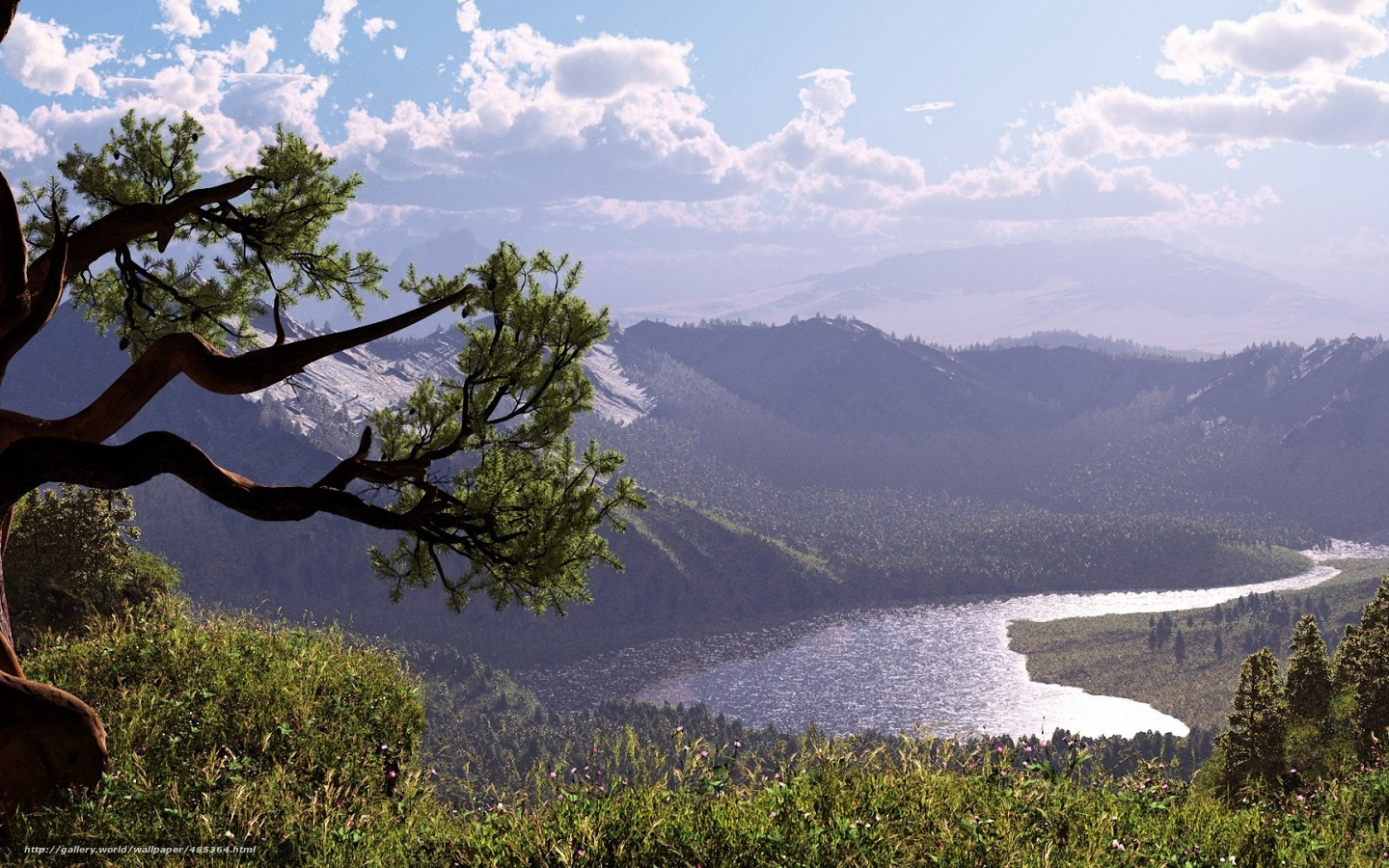 Download wallpaper sky,  Mountains,  river,  grass free desktop wallpaper in the resolution 1440x900 — picture №485364