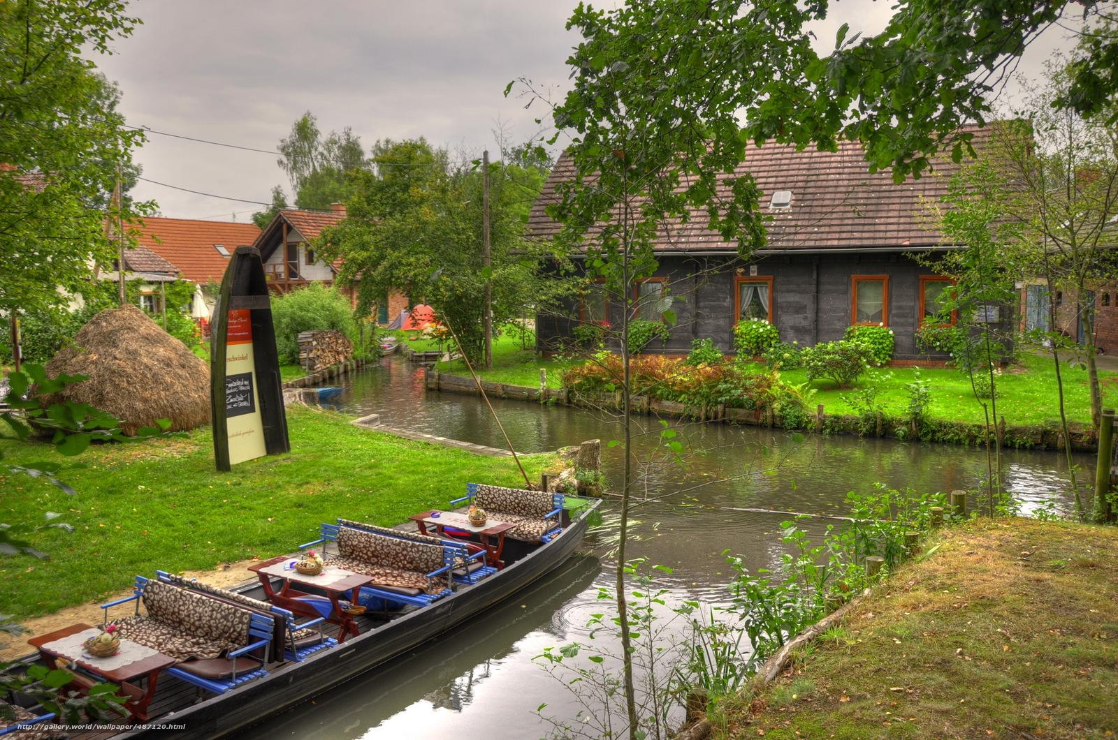 Download wallpaper Germany,  boat,  river,  brandenburg lubbenau free desktop wallpaper in the resolution 3264x2162 — picture №487120