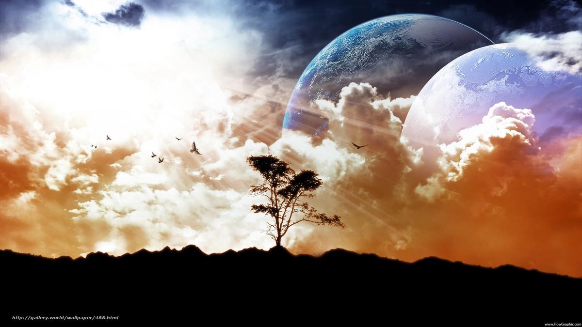 Скачать обои небо,  земля,  луна бесплатно для рабочего стола в разрешении 1920x1080 — картинка №488